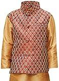 JBN Creation Boy's Silk Blend Nehru Jacket (Maroon and Gold, 18-24 Months)