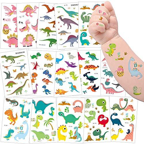 Sporgo Tattoo Kinder, Einhorn Meerjungfrau Dinosaurier Tier Weltraum Party Tattoos Set,Temporäre Tattoos Kinder Aufkleber für Mädchen Kindergeburtstag Mitgebsel Party (Dinosaurier)