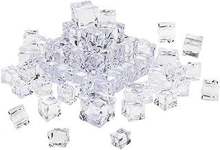 Vosarea 50 pezzi cubo forma quadrata di vetro lucentezza cubetti di ghiaccio finto artificiale acrilico cubetti di ghiacci...