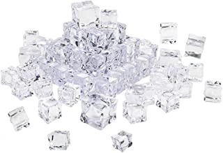 VORCOOL Acrylic Ice Cubes,50 Pcs Artificial Ice Cubes Cube Square Shape Glass Luster Ice Cubes Fake Crystal Clear Photography Props Kitchen Decor