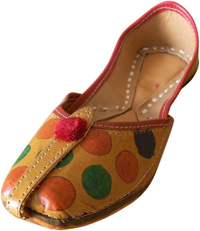 Kalra Creations Jutti Rajasthani Indian Brown Leather Flip-Flops Women Handmade shoesi