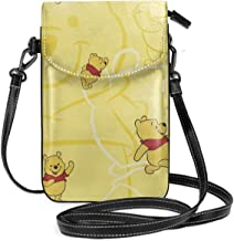 Lbbb Winnie Pooh PU Leather Small Cross Body Bag-Cell Phone Purse Smartphone Wallet with Shoulder Strap Handbag for Women