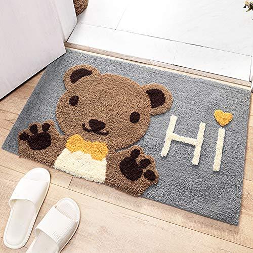 Leoie Water Absorption Nonslip Cartoon Microfiber Doormat for Home Bathroom Hey, Bear 5080cm