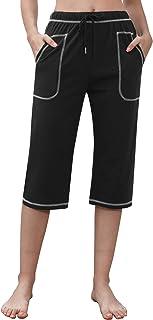 Irevial Pantalon Chandal Mujer Algodón Verano Pantalones Deportivos Mujer Largos 3/4 con Cordón y Bolsillos Pantalon Veran...