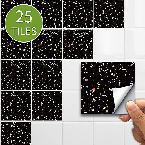 JASIN Muurstickers, Restaurant Shop Decoratie Wanddecoratie Muurstickers Zelfklevende 25 Stuks Zwart Terrazzo Tegel Stickers