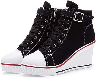 Baskets Compensées Tendance 35-43 EU Femme Baskets Compensées Chaussure de Sport Marche Fitness Sneakers Basses Compensées...