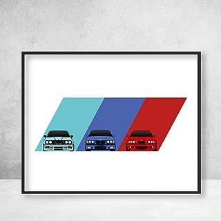BMW M3 Poster Print Wall Art on BMW Power M Logo Featuring BMW M3 Car Models Generations: E30 E36 E46