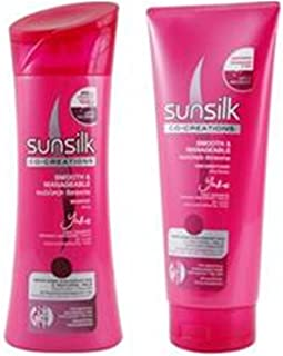 Pack of 2,sunsilk Shampoo 340 Ml+conditioner 320 Ml. For Silky Smooth & Manageable. (Pink)