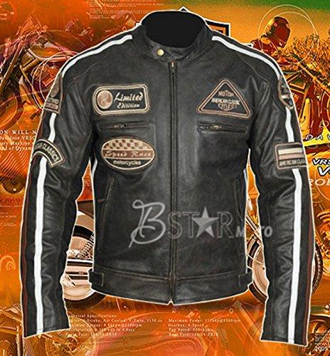 Bstarmoto Motorrad Lederjacke, LederJAcke, Biker JAcket, Leather JAcket, Veste En Cuir (4XL)