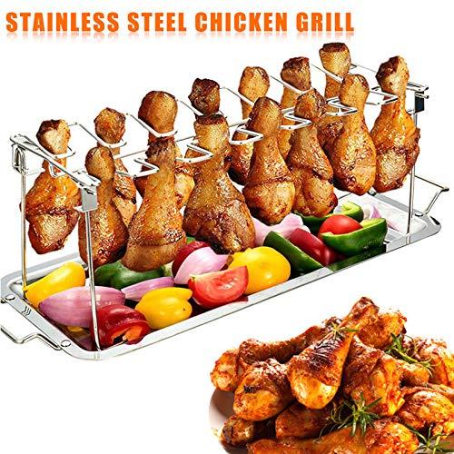 Tutyuity Hähnchenschenkel Halter Grill, Edelstahl Chicken Grillhalter mit Auffangwanne zum Grillen
