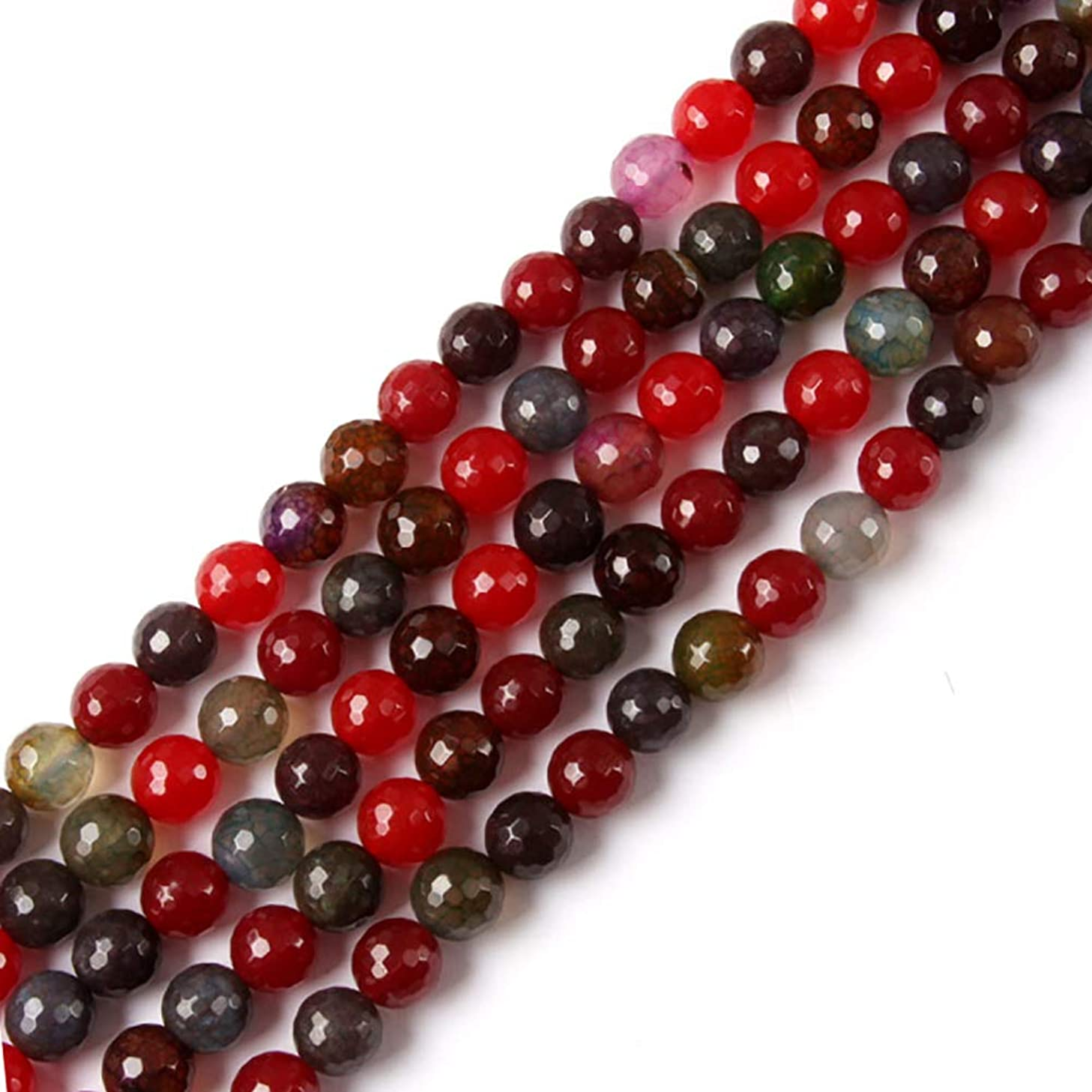 GEM-inside Natural 10mm Faceted Mixed Colour Agate Beads Gemstone Loose Beads Handmade Round Beads for Jewelry Making Jewelry Beading Supplies for Women