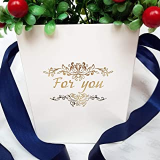 BS03 Flower Bouquet Gift Bag with Handles Set of 6 - Flower Packing Bags Boxes for Wedding Birthday Anniversary Baby Shower Party - ECO Cardboard Box Gift Bags Bulk - Decorative Box for Flowers