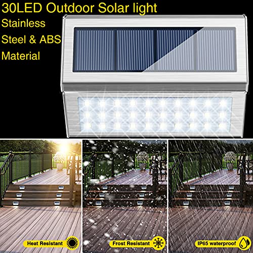 Deck Lights Outdoor, Solar Fence Lights with 30 LED Waterproof Step Lights for Garden Walkway Patio Pathway - Cool White