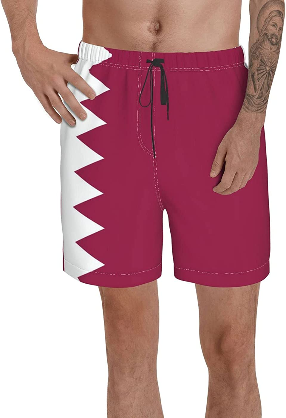 Count Qatar Flag Men's 3D Printed Funny Summer Quick Dry Swim Short Board Shorts with