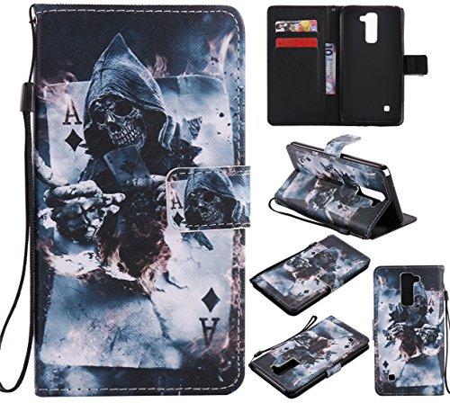 Nancen Compatible with LG G Stylo 2 / LG Stylus 2 / LG Stylus 2 Plus LS775 K520 (5,7 Zoll) Hülle/Handyhülle, Zwei Kartenfächer & Eine Brieftasche Etui [Gott des Todes]