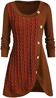 HoSayLike Jerseys para Mujeres Moda Talla Grande Manga Larga Cuello Redondo Botones Color SóLido Mantener Caliente Costura...