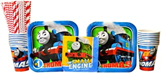 Thomas All Aboard Train Party Supplies Pack for 16 Guests   24 Paper Straws, 16 Dessert Plates, 16 Beverage Napkins, and 16 Cups   Train Decorations for The Perfect Train Birthday Party