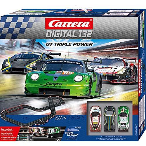 Carrera DIGITAL 132 GT Triple Power – Elektrische Autorennbahn │ Premium-Rennbahn für bis zu 6 Spieler mit 3 GT3-Fahrzeugen │ Ferngesteuerte Carrerabahn für Kinder ab 8 Jahren & Erwachsene