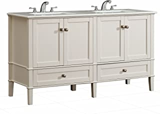 Simpli Home HHV029-60 Chelsea 60 inch Contemporary Bath Vanity in Soft White with White Engineered Quartz Marble Top
