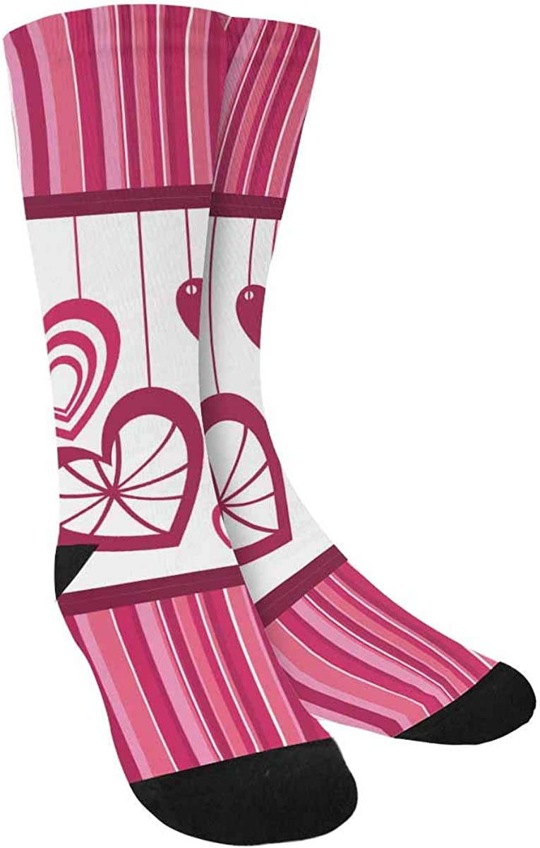 INTERESTPRINT Cute Hearts Over Pink Stripes Sublimated Polyester Casual Crew Socks