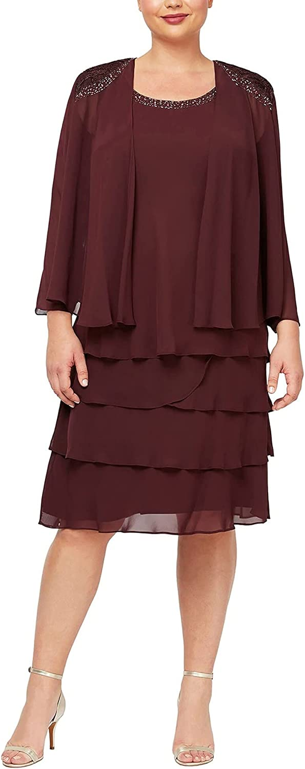 S.L. Fashions Women's Mother of The Bride Two Piece Jacket Dress with Beading