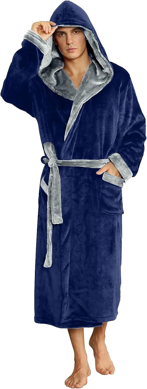 U2SKIIN Mens Hooded Robe Plush Robes Men Super beauty product restock quality top! for Long Max 56% OFF Fleece Bathro
