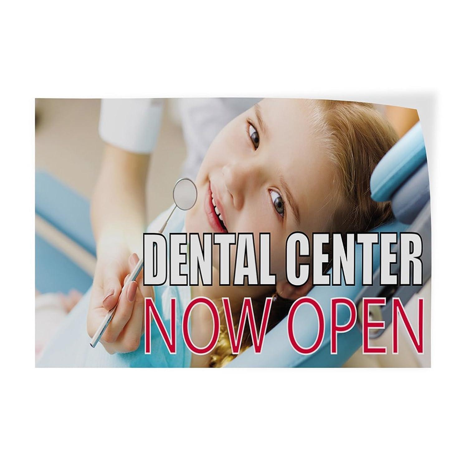 Dental Center Now Open Indoor Store Sign Vinyl Decal Sticker - 9.25inx24in,