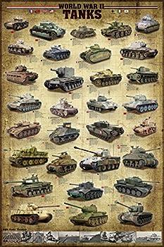 Tanks of World War II Poster Sherman Panzer Pershing Churchill Tiger 24x36