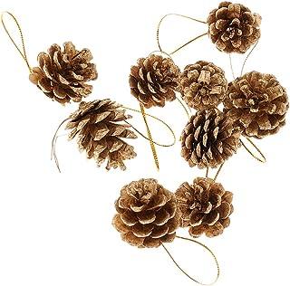 9個 4cm クリスマス オーナメント クリスマスツリー ぶら下げ 松かさ 松ぼっくり 装飾 小物 ゴールド