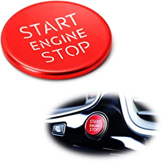iJDMTOY (1) S-Line RS Style Red Aluminum Keyless Engine Push Start Button Cover Trim For Audi A4 A5 A7 A8 Q3 Q5 Q7, etc