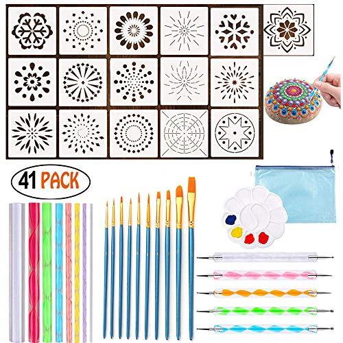 41 Stück Mandala Rock Dotting Tools verschiedene Größen Kunst Malwerkzeuge Set mit Mandala Schablonen und Malpalette Mandala Kunst, Aufbewahrungstaschen für Rock Painting, Kids Craft, Nail Art