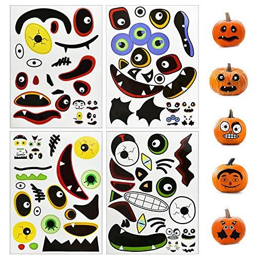 TANCUDER 4 PCS Pegatinas de Calabaza Pegatinas de Halloween para Decoración de DIY Pegatinas de Cara de Truco Pegatinas Autoadhesivas de Expresión Facial para para Favores de Fiesta de Halloween