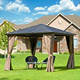 Outdoor Hardtop Gazebo(2021 New)- Galvanized Steel roof,Gazebo for Patio with Canopy Privacy Curtains and Netting ,Outdoor Gazebo (Iris 10'x10') Aluminum Frame by domi outdoor living