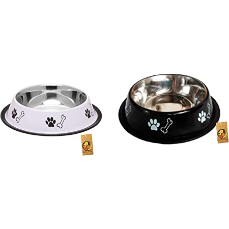 Foodie Puppies Stainless Steel Combo Offer Paw Bone Printed Royal White and Night Black Food Water Feeding Bowl for Dogs & Puppies (Medium, 700ml Each)