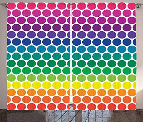 Ambesonne Polka Dots Curtains, Illustration of Rainbow Colored Dots Big Circles Spots Theme Print, Living Room Bedroom Window Drapes 2 Panel Set, 108' X 84', Multicolor