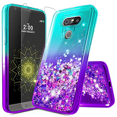 NageBee LG G5 Case with Screen Protector for Girls Women Kids, Glitter Liquid Sparkle Bling Floating Waterfall Shockproof Cute Case for LG G5 -Aqua/Purple