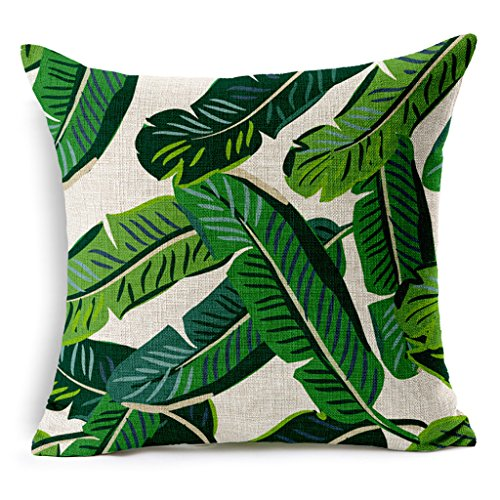 HACASO 18 X 18 Inch Cotton Linen Decorative Throw Pillow Cover Cushion Case Tropical Forest Print Pillowcase(2)