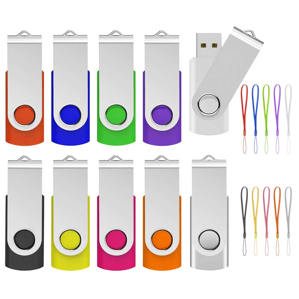 4GB USB Flash Drive 10 Pack, ABLAZE USB 2.0 Memory Stick with Lanyards and Labels Swivel Thumb Drives Bulk U Disk 4GB Pendrive Jump Drive Zip Drive for Data Storage (4GB,10 Pack, Mixcolor)