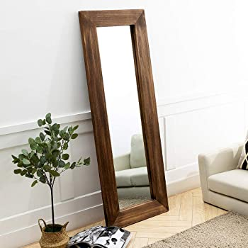 Amazon Com Antjumper Wooden Framed Full Length Mirror Lager Hanging Mirror Dressing Mirror For Living Room Bedroom Home Rustic Style Decor Leaning Against Wall Wall Mounted Large Mirror 65 X24 Brown Furniture Decor