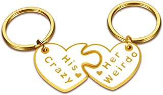 Couple Gifts for Him Her His Crazy Her Weirdo Keychain Christmas Birthday Anniversary Present for Husband Wife Boyfriend G...