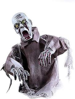 ハロウィーンアニメーションゾンビお化け屋敷装飾、LEDの目と音のホラーゾンビ-動く頭と腕、電池式(別売)