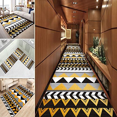Orumrud Alfombra para pasillo de cocina, antideslizante, lavable a máquina, moderna, color amarillo, negro, con costuras geométricas para pasillos, cocinas/escaleras (tamaño: 52 x 240 cm)