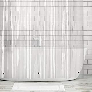 "mDesign Waterproof, Heavy Duty Premium Quality 10-Guage Vinyl Shower Curtain Liner for Bathroom Shower and Bathtub - 72"" x 72"" - Clear"