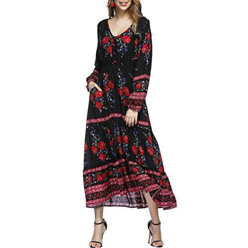df7b26fa448bd Women's Dress Floral V Neck Elastic Waist Long Sleeve Boho Midi Party  Dresses