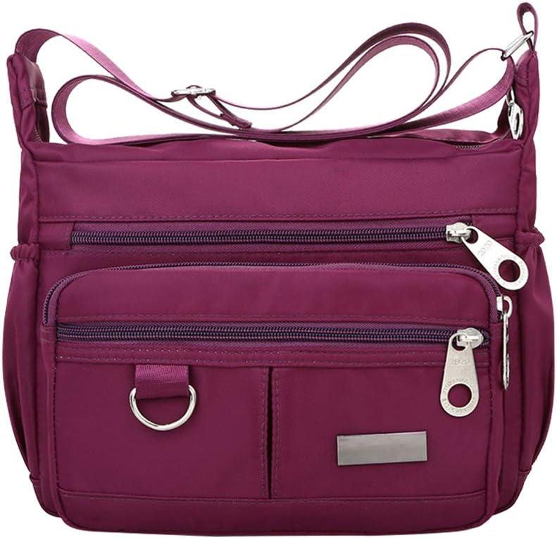 FENICAL Waterproof Oxford Cloth Mother Handbag Casual Shoulder Bag Crossbody Bag Large Capacity Shoulder Tote Travel Bag for Ladies (Purple)