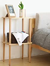 EXILOT Solid Wood Nightstand Tall Side Table End Table Bedside Table for Living Room Bedroom No-Tool Assembly