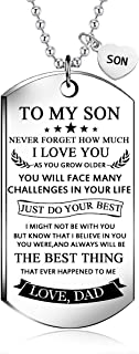 NOVLOVE To my Son Dog Tag Necklace from dad best wish To my son never forget how.love dad Pendant Necklace,Inspirational Gifts For son and men Military Jewelry