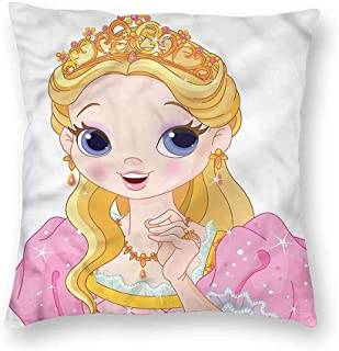 Princess Home Decorative Throw Pillows Case Royal Lady with a Tiara Pattern Pillow Cover for Sofa Chair 16 x 16 Inch
