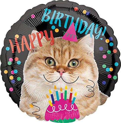amscan 3539801 Happy Birthday Folienballon, Katze