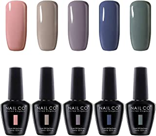NAILCO Nail Gel Polish Lacquer-5 Pcs (Elegant New Design) Soak Off Varnish Manicure Kit Set28 No Wipe Top And Base Coat For DIY Make Up Accessories Art Sticker Decoration Nail Stamping Plates, Salon